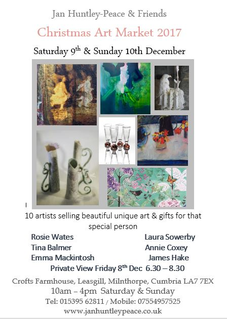 Saturday 9th and Sunday 10th December 2017  we are delighted to be part of  Jan Huntley-Peace's annual event.